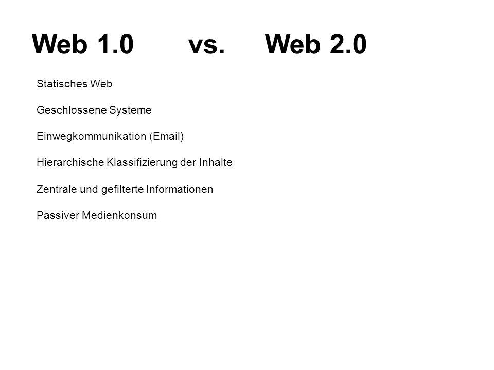 Statisches Web Geschlossene Systeme Einwegkommunikation (Email) Hierarchische Klassifizierung der Inhalte Zentrale und gefilterte Informationen Passiv