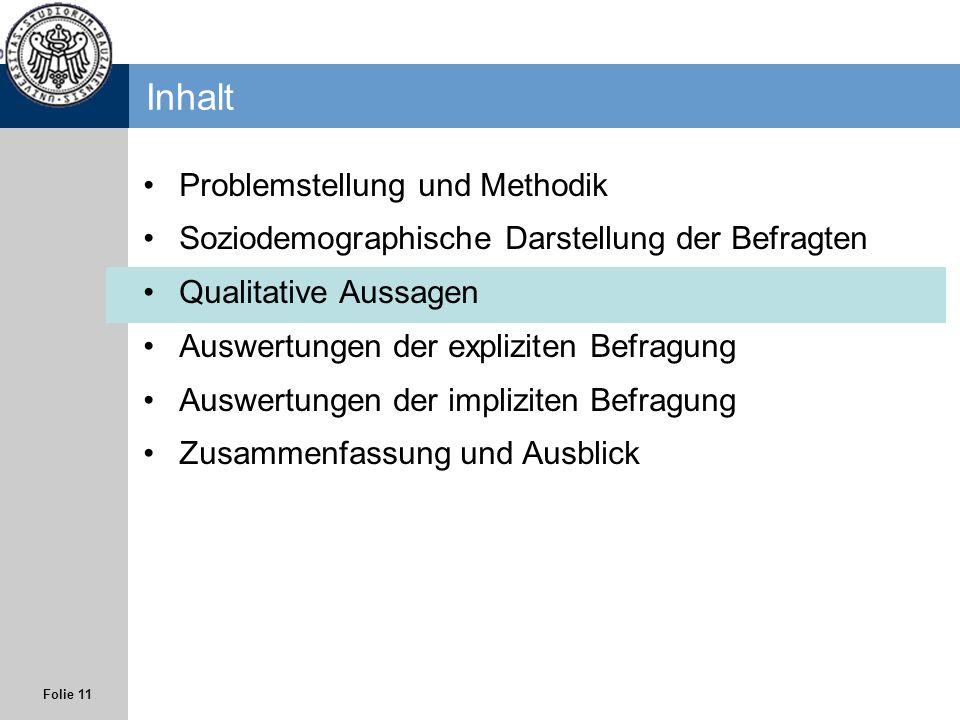 Folie 11 Inhalt Problemstellung und Methodik Soziodemographische Darstellung der Befragten Qualitative Aussagen Auswertungen der expliziten Befragung