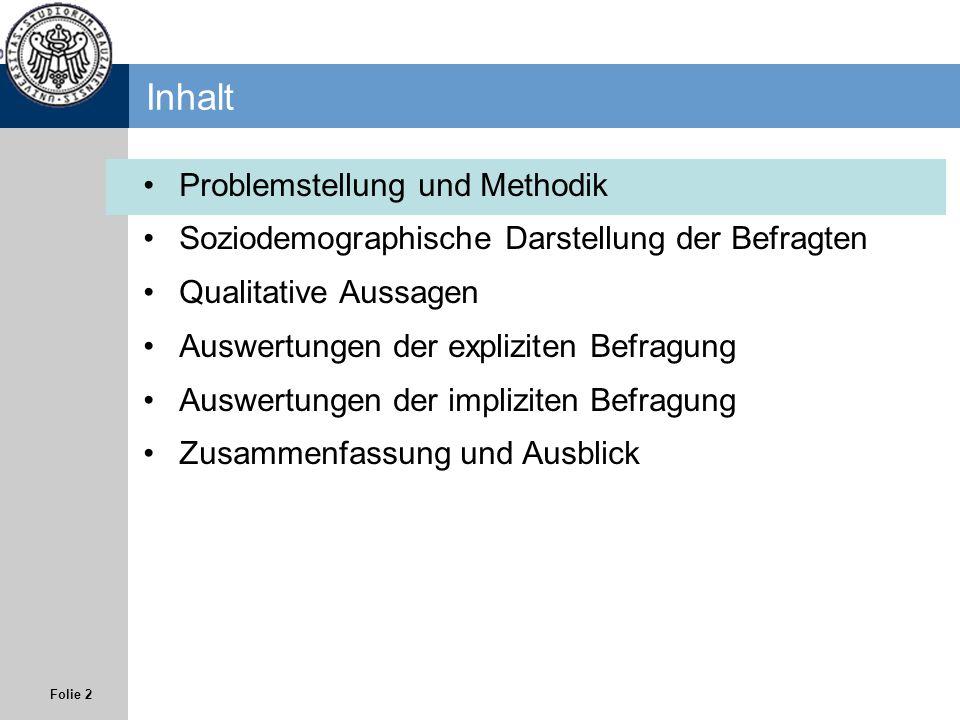 Folie 2 Inhalt Problemstellung und Methodik Soziodemographische Darstellung der Befragten Qualitative Aussagen Auswertungen der expliziten Befragung A