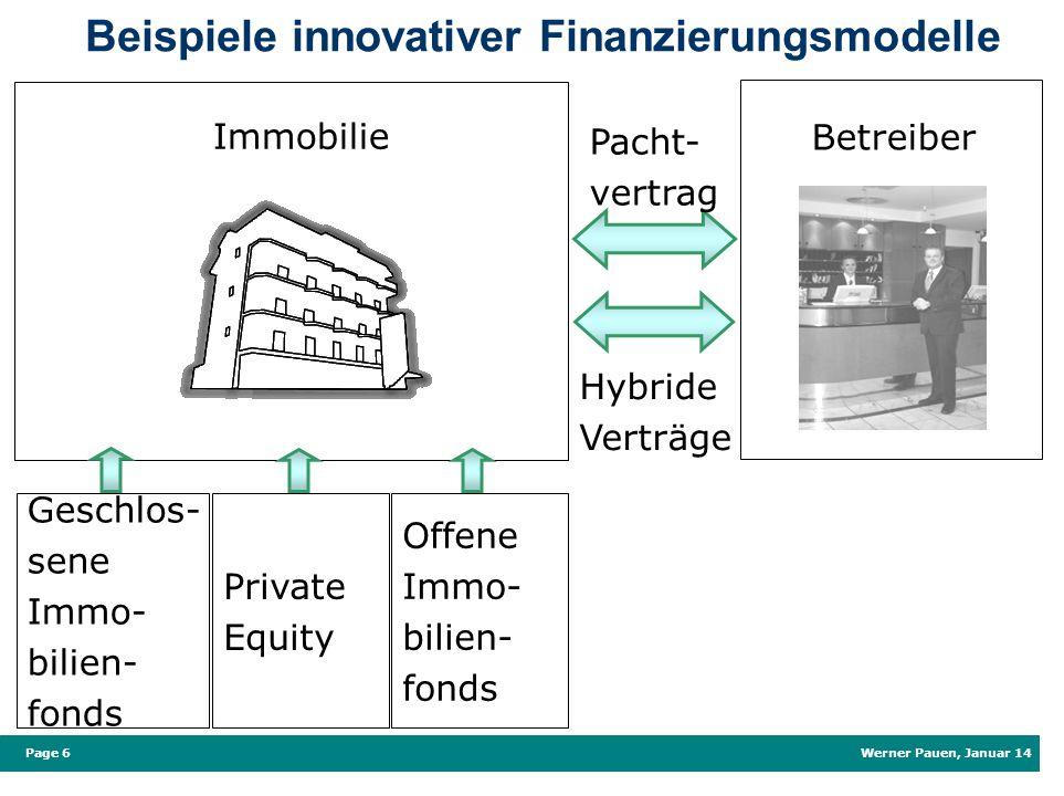 Werner Pauen, Januar 14 Page 6 Beispiele innovativer Finanzierungsmodelle Immobilie Betreiber Pacht- vertrag Hybride Verträge Geschlos- sene Immo- bil