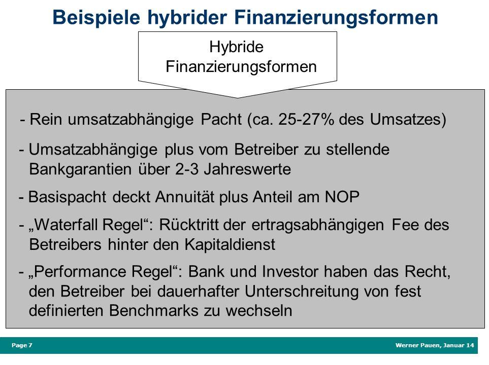 Werner Pauen, Januar 14 Page 7 Beispiele hybrider Finanzierungsformen Hybride Finanzierungsformen - Rein umsatzabhängige Pacht (ca. 25-27% des Umsatze