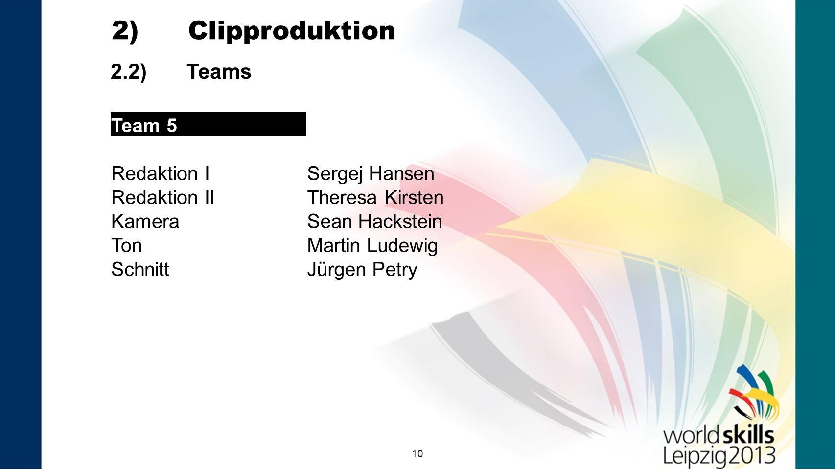 10 2.2) Teams 2) Clipproduktion Team 5 Redaktion ISergej Hansen Redaktion IITheresa Kirsten KameraSean Hackstein TonMartin Ludewig SchnittJürgen Petry