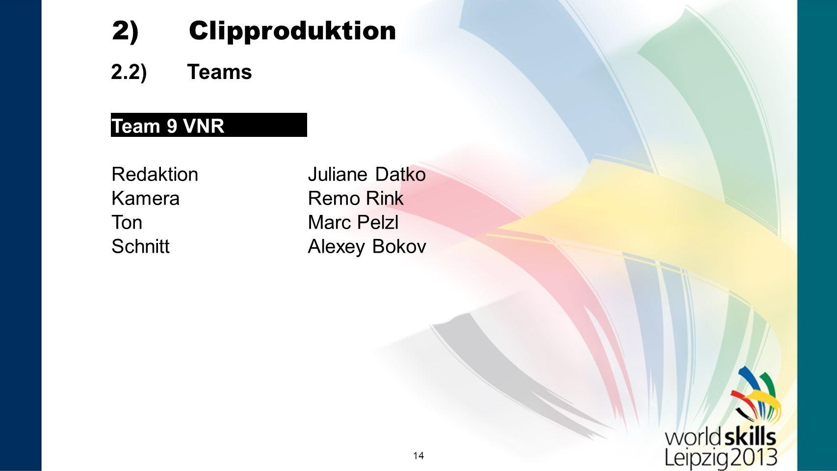 14 2.2) Teams 2) Clipproduktion Team 9 VNR RedaktionJuliane Datko KameraRemo Rink TonMarc Pelzl SchnittAlexey Bokov Team 9 VNR