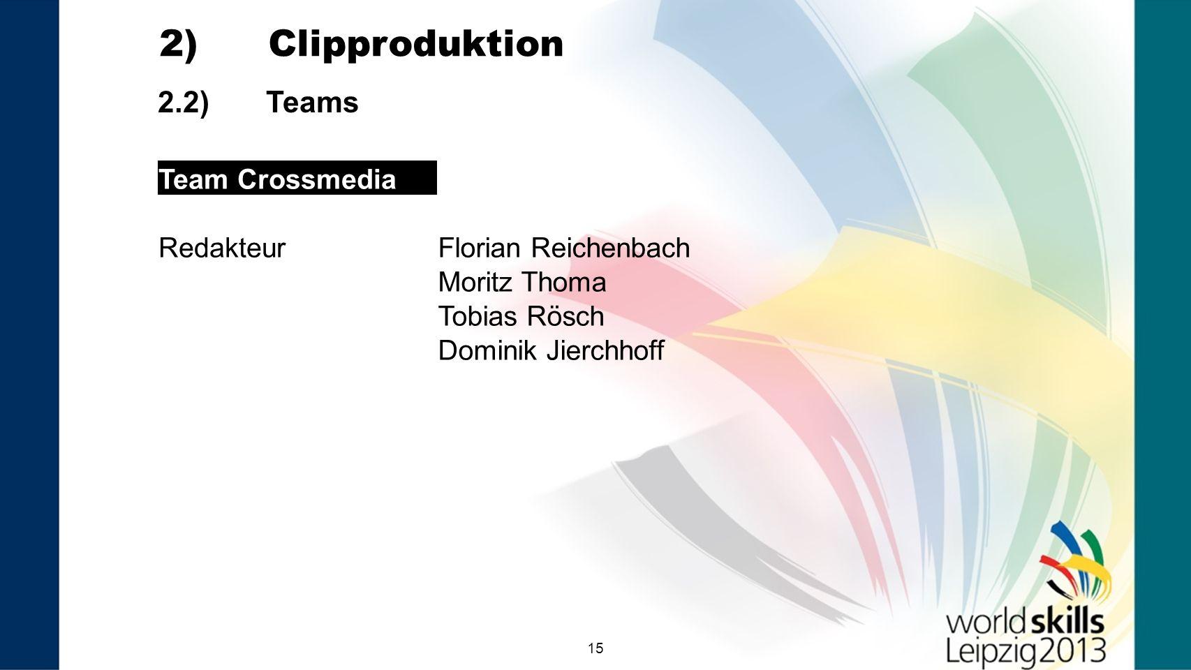 15 2.2) Teams 2) Clipproduktion Team Crossmedia RedakteurFlorian Reichenbach Moritz Thoma Tobias Rösch Dominik Jierchhoff Team 9 VNR