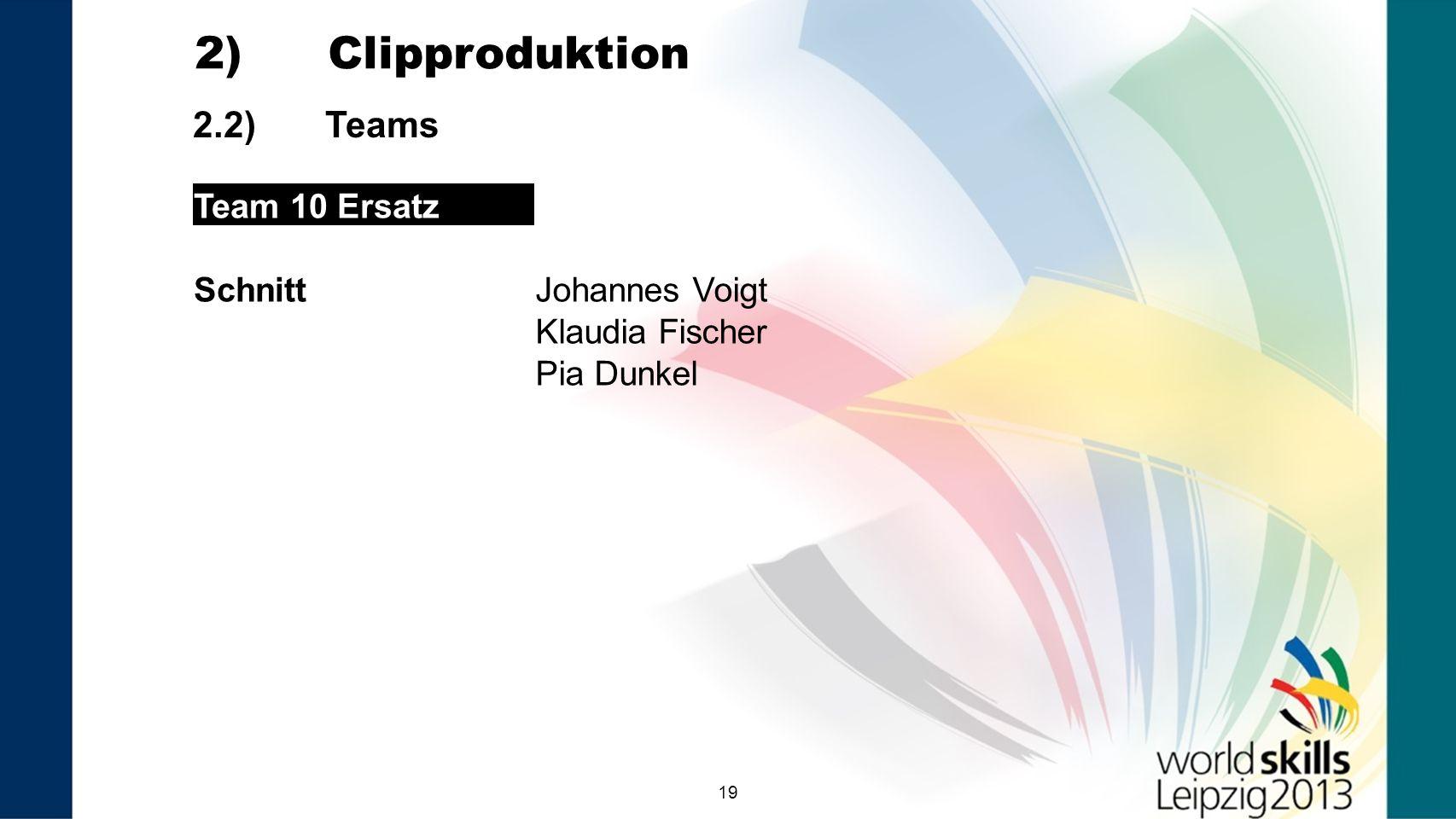 19 2.2) Teams 2) Clipproduktion Team 10 Ersatz SchnittJohannes Voigt Klaudia Fischer Pia Dunkel