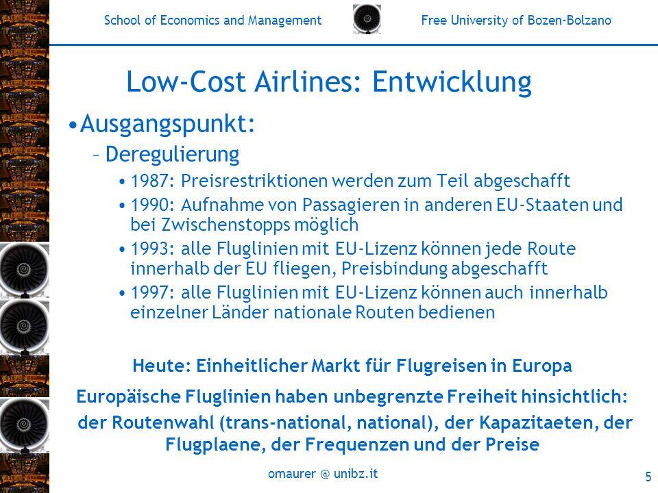 School of Economics and Management Free University of Bozen-Bolzano omaurer @ unibz.it 5 Low-Cost Airlines: Entwicklung Ausgangspunkt: –Deregulierung