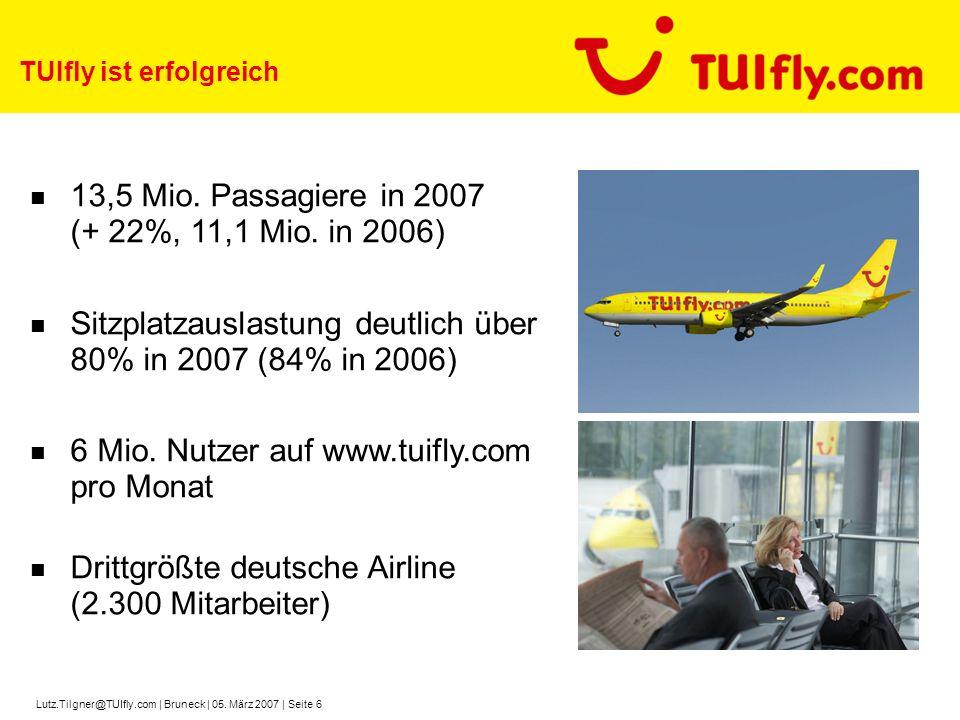 Lutz.Tilgner@TUIfly.com | Bruneck | 05. März 2007 | Seite 6 TUIfly ist erfolgreich 13,5 Mio. Passagiere in 2007 (+ 22%, 11,1 Mio. in 2006) Sitzplatzau