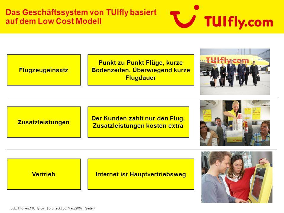 Lutz.Tilgner@TUIfly.com | Bruneck | 05. März 2007 | Seite 7 Das Geschäftssystem von TUIfly basiert auf dem Low Cost Modell Flugzeugeinsatz Zusatzleist