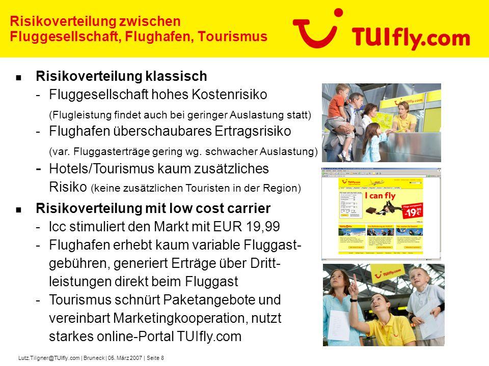 Lutz.Tilgner@TUIfly.com | Bruneck | 05. März 2007 | Seite 8 Risikoverteilung klassisch -Fluggesellschaft hohes Kostenrisiko (Flugleistung findet auch