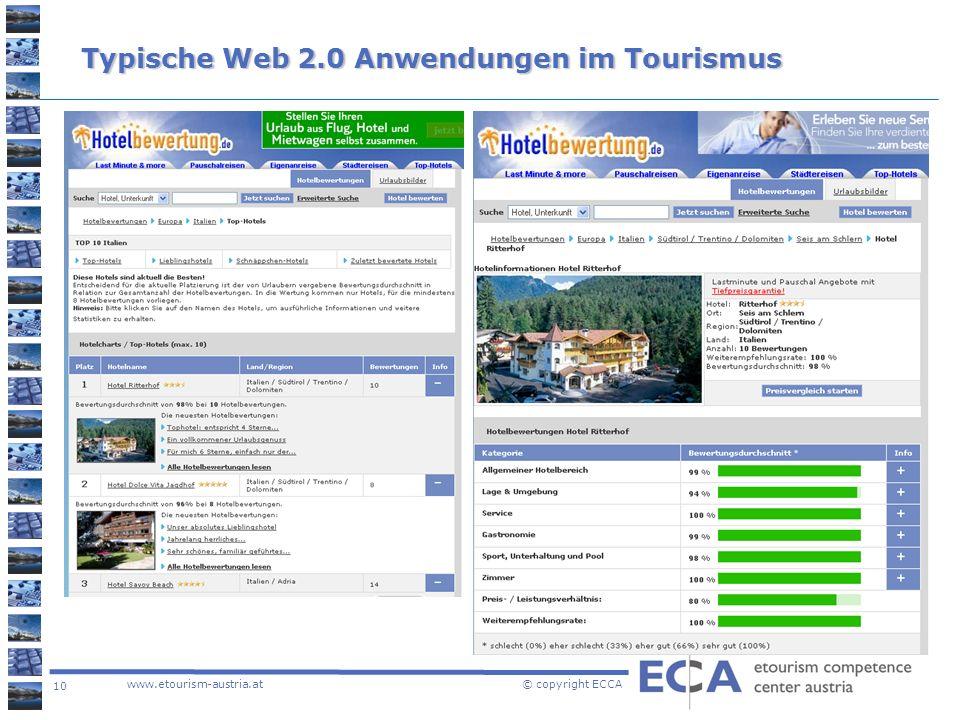 10 www.etourism-austria.at © copyright ECCA Typische Web 2.0 Anwendungen im Tourismus