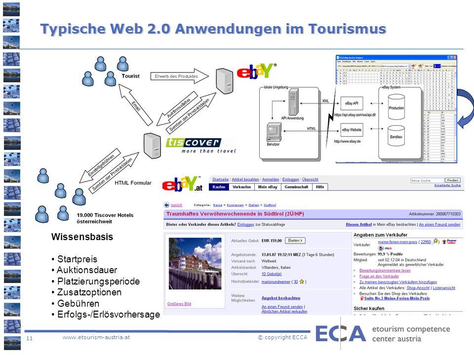 11 www.etourism-austria.at © copyright ECCA Typische Web 2.0 Anwendungen im Tourismus Wissensbasis Startpreis Auktionsdauer Platzierungsperiode Zusatz