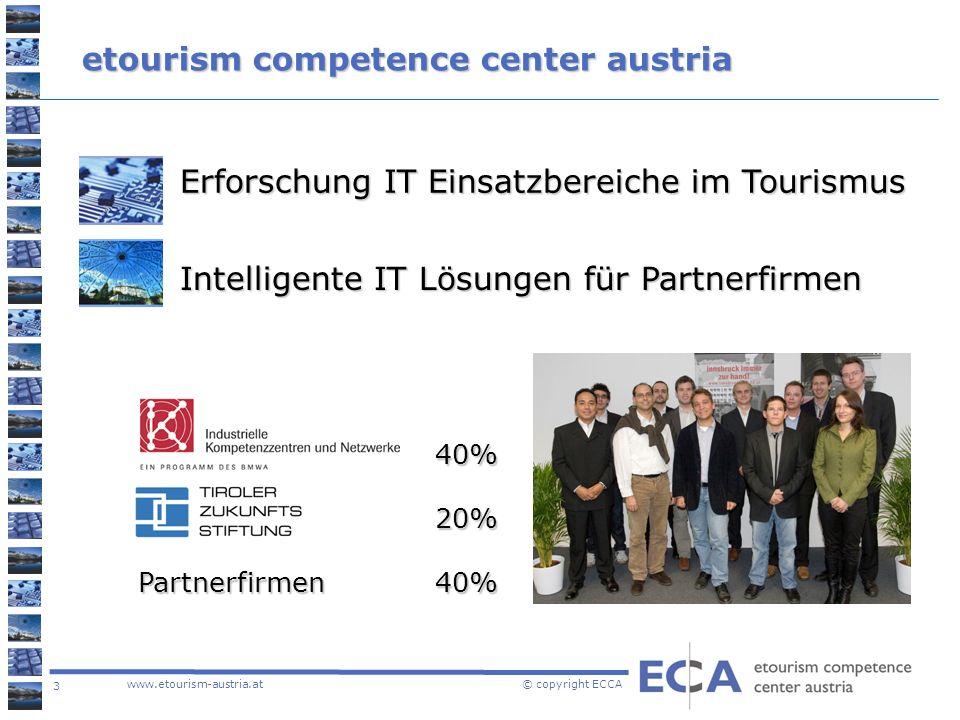 3 www.etourism-austria.at © copyright ECCA etourism competence center austria Erforschung IT Einsatzbereiche im Tourismus Intelligente IT Lösungen für