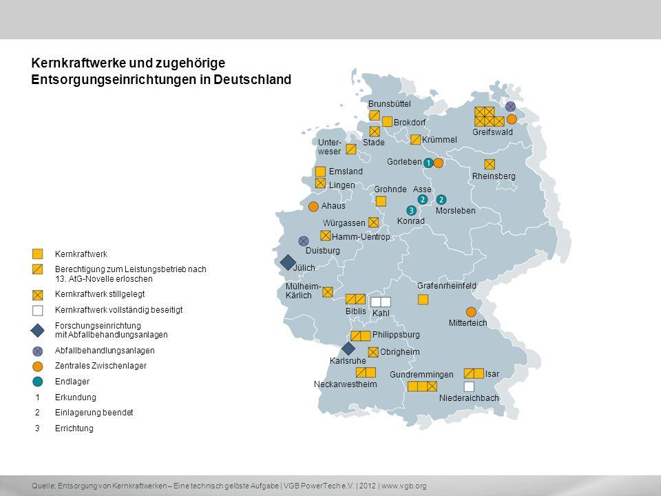 Quelle: Entsorgung von Kernkraftwerken – Eine technisch gelöste Aufgabe | VGB PowerTech e.V. | 2012 | www.vgb.org Brunsbüttel Greifswald Brokdorf Krüm