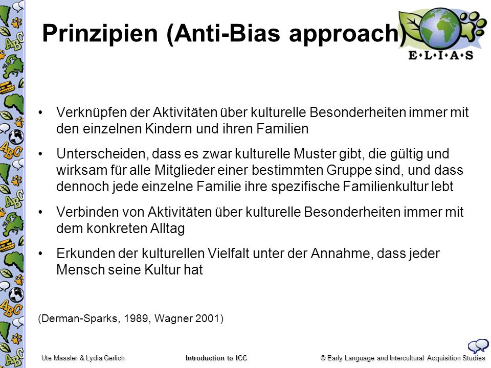 © Early Language and Intercultural Acquisition Studies Ute Massler & Lydia Gerlich Introduction to ICC Prinzipien (Anti-Bias approach) Verknüpfen der