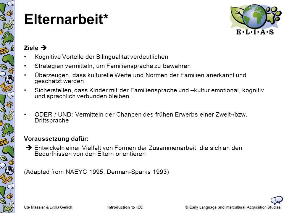 © Early Language and Intercultural Acquisition Studies Ute Massler & Lydia Gerlich Introduction to ICC Elternarbeit* Ziele Kognitive Vorteile der Bili