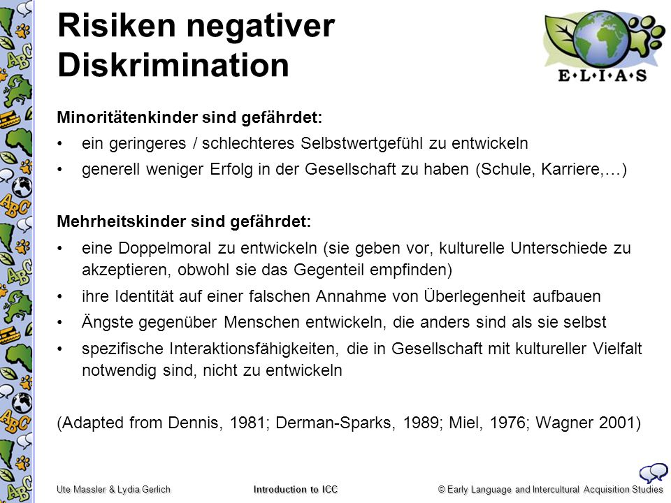 © Early Language and Intercultural Acquisition Studies Ute Massler & Lydia Gerlich Introduction to ICC Risiken negativer Diskrimination Minoritätenkin
