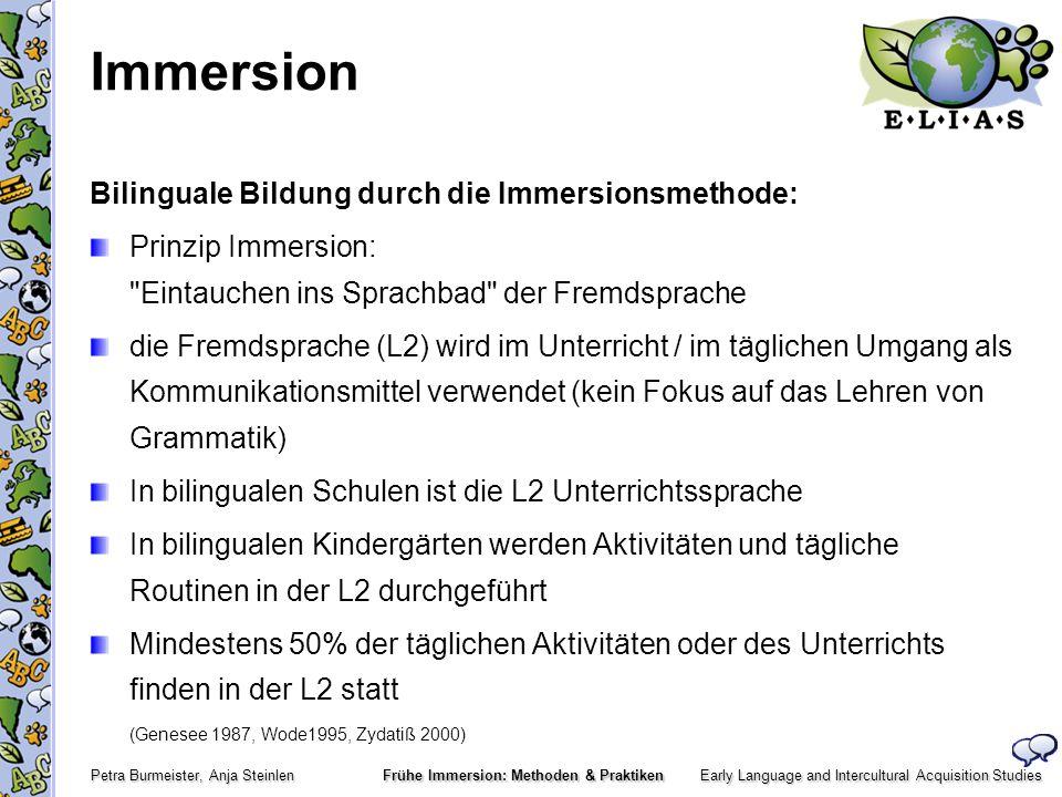 Early Language and Intercultural Acquisition Studies Petra Burmeister, Anja Steinlen Frühe Immersion: Methoden & Praktiken Immersion Ergebnisse kanadischer Immersionsstudien (z.B.