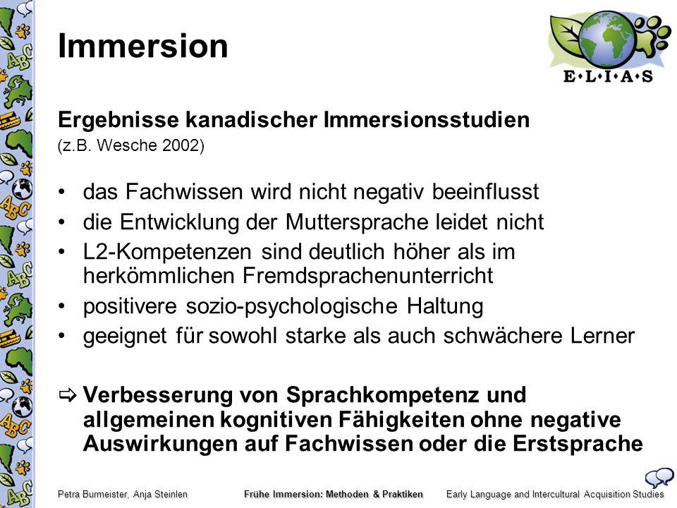 Early Language and Intercultural Acquisition Studies Petra Burmeister, Anja Steinlen Frühe Immersion: Methoden & Praktiken Gründe für den frühen L2-Erwerb Die Kinder erwerben die L2 wie ihre L1, indem sie: beobachten, zuhören und indem sie in/mit der L2 handeln erwerben die L2 implizit, als ein Nebenprodukt der Handlungen sind nicht in der Lage, ihren Spracherwerbsprozess bewusst zu organisieren / zu beeinflussen (Sprache wird konstruiert) lieben es mitzusingen, mit Sprache zu spielen, zu imitieren Die L2-Grammatik entsteht.