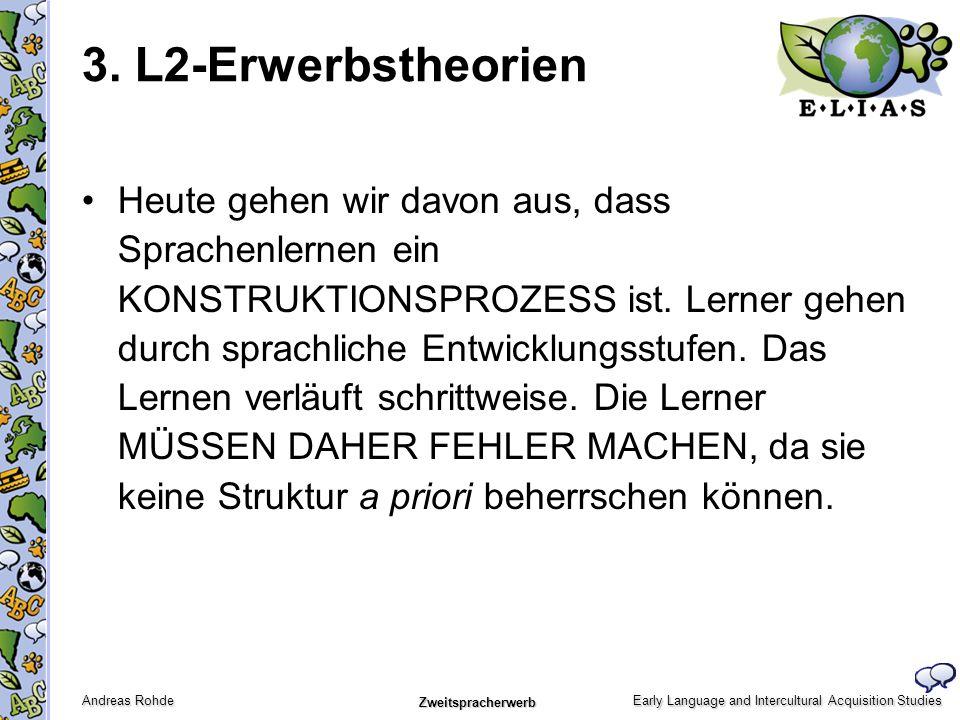 Early Language and Intercultural Acquisition Studies Andreas Rohde Zweitspracherwerb Heute gehen wir davon aus, dass Sprachenlernen ein KONSTRUKTIONSP