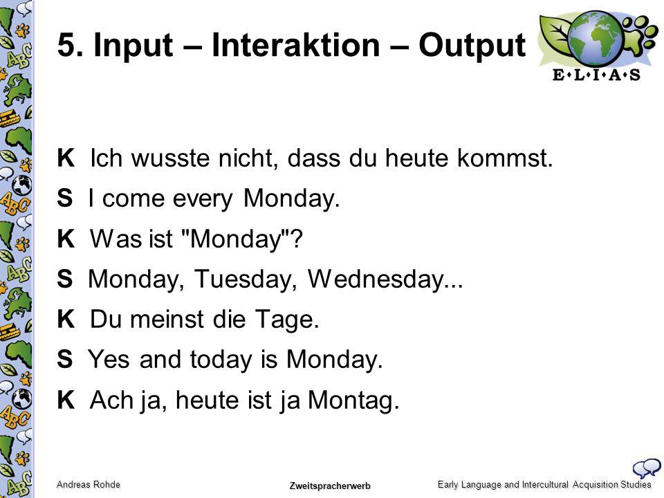 Early Language and Intercultural Acquisition Studies Andreas Rohde Zweitspracherwerb 5. Input – Interaktion – Output K Ich wusste nicht, dass du heute