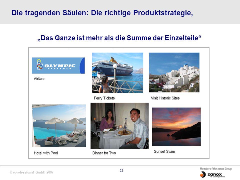 © eprofessional GmbH 2007 22 Die tragenden Säulen: Die richtige Produktstrategie, Das Ganze ist mehr als die Summe der Einzelteile