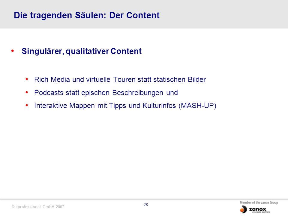 © eprofessional GmbH 2007 28 Die tragenden Säulen: Der Content Singulärer, qualitativer Content Rich Media und virtuelle Touren statt statischen Bilde