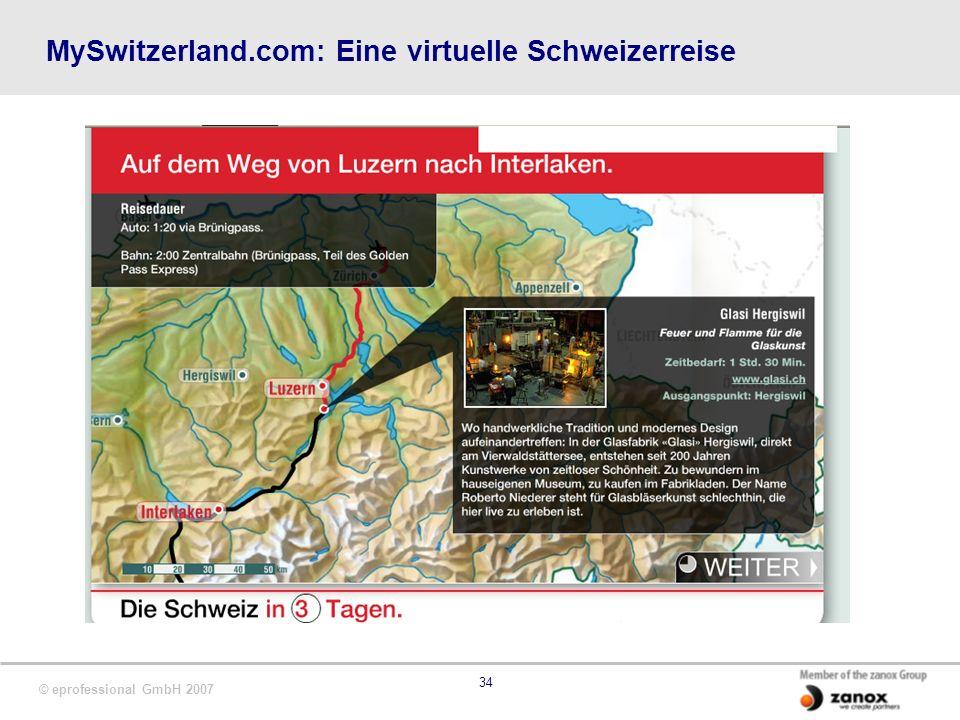 © eprofessional GmbH 2007 34 MySwitzerland.com: Eine virtuelle Schweizerreise