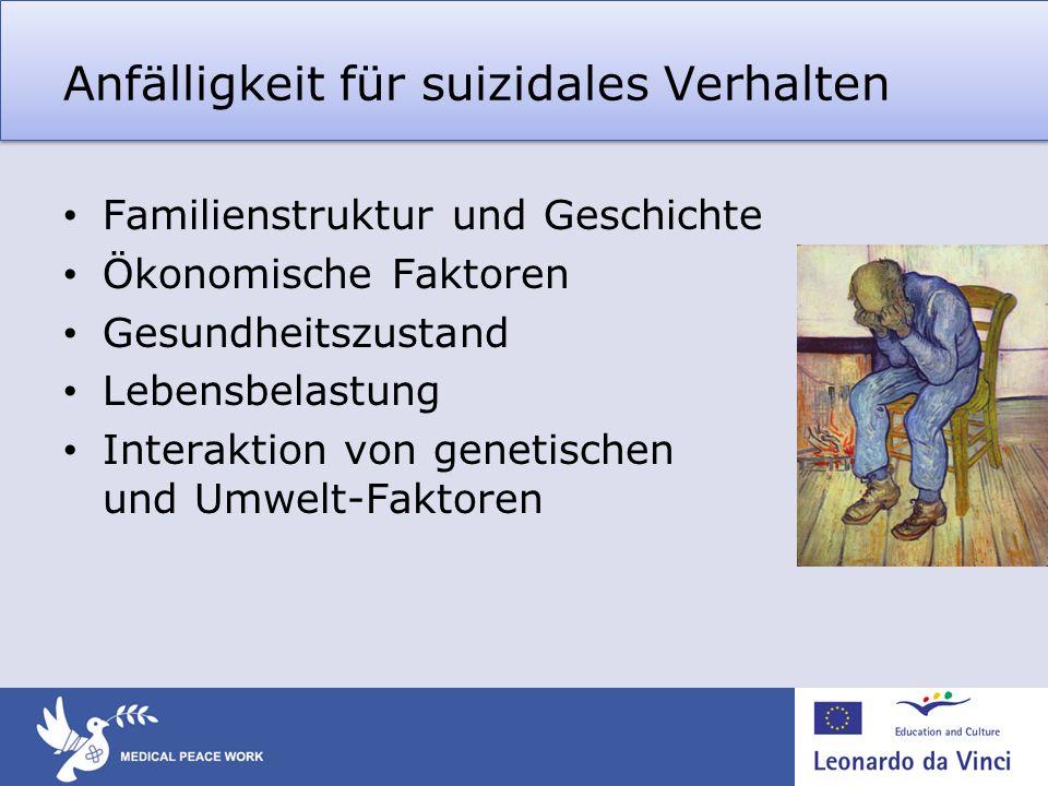Anfälligkeit für suizidales Verhalten Familienstruktur und Geschichte Ökonomische Faktoren Gesundheitszustand Lebensbelastung Interaktion von genetisc