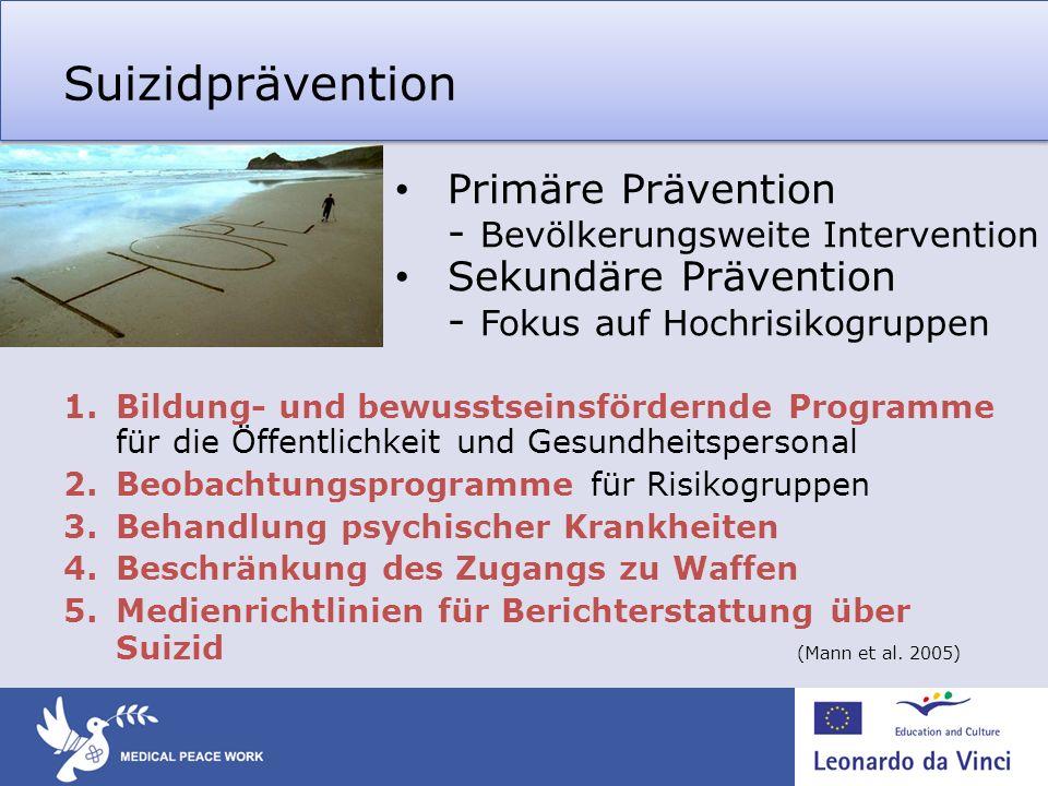 Suizidprävention 1.Bildung- und bewusstseinsfördernde Programme für die Öffentlichkeit und Gesundheitspersonal 2.Beobachtungsprogramme für Risikogrupp