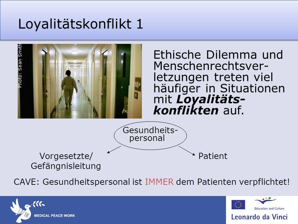 Loyalitätskonflikt 1 Gesundheits- personal Vorgesetzte/ Patient Gefängnisleitung CAVE: Gesundheitspersonal ist IMMER dem Patienten verpflichtet.