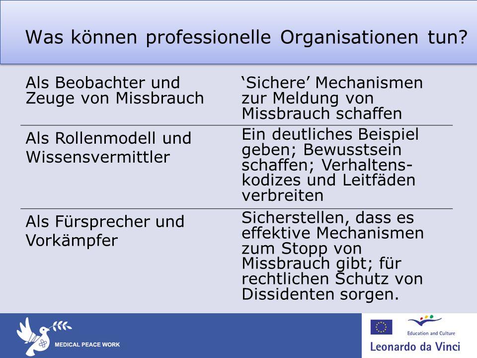 Was können professionelle Organisationen tun? Als Beobachter und Zeuge von Missbrauch Sichere Mechanismen zur Meldung von Missbrauch schaffen Als Roll