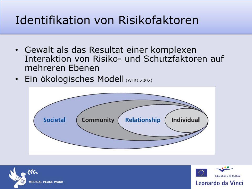 Identifikation von Risikofaktoren Gewalt als das Resultat einer komplexen Interaktion von Risiko- und Schutzfaktoren auf mehreren Ebenen Ein ökologisc