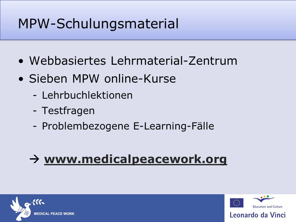 MPW-Schulungsmaterial Webbasiertes Lehrmaterial-Zentrum Sieben MPW online-Kurse -Lehrbuchlektionen -Testfragen -Problembezogene E-Learning-Fälle www.m