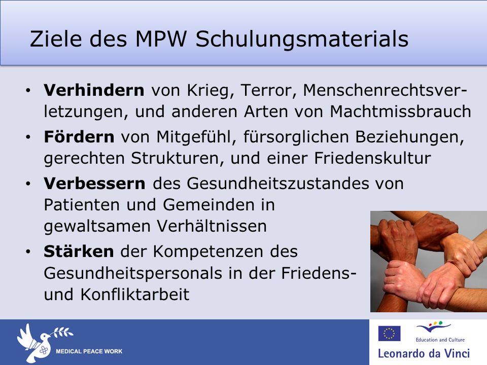 Ziele des MPW Schulungsmaterials Verhindern von Krieg, Terror, Menschenrechtsver- letzungen, und anderen Arten von Machtmissbrauch Fördern von Mitgefü