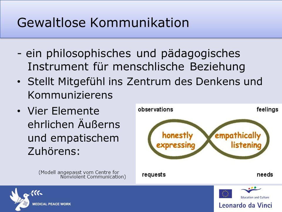 Gewaltlose Kommunikation - ein philosophisches und pädagogisches Instrument für menschlische Beziehung Stellt Mitgefühl ins Zentrum des Denkens und Ko