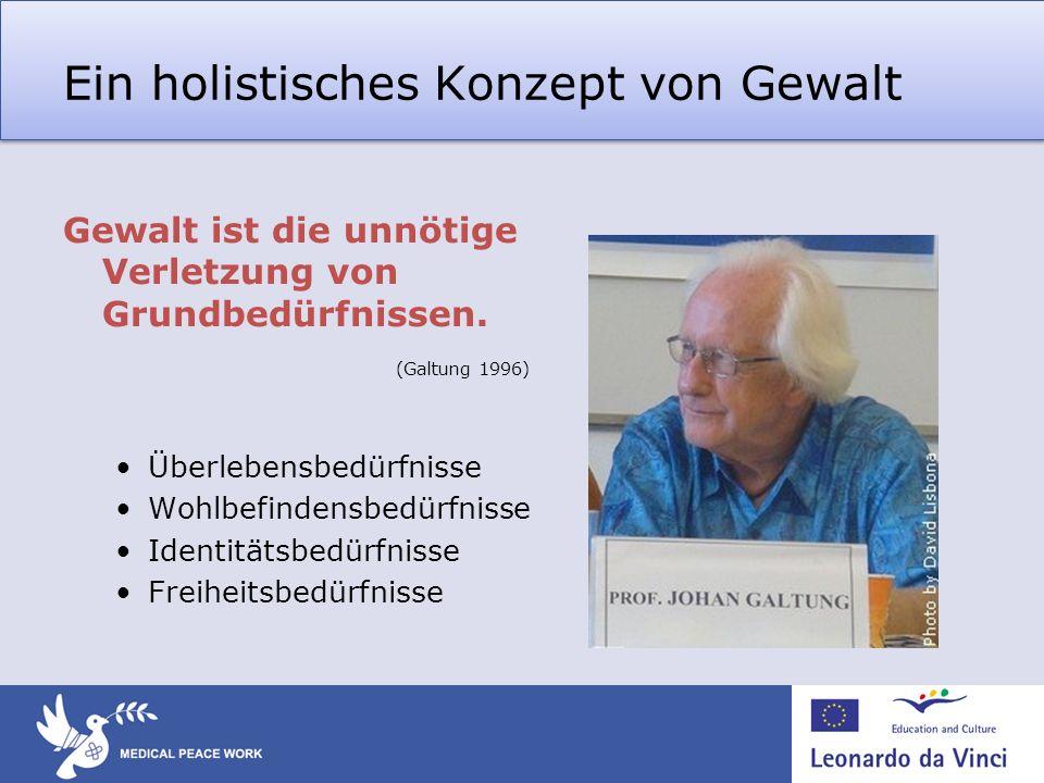Ein holistisches Konzept von Gewalt Gewalt ist die unnötige Verletzung von Grundbedürfnissen. (Galtung 1996) Überlebensbedürfnisse Wohlbefindensbedürf