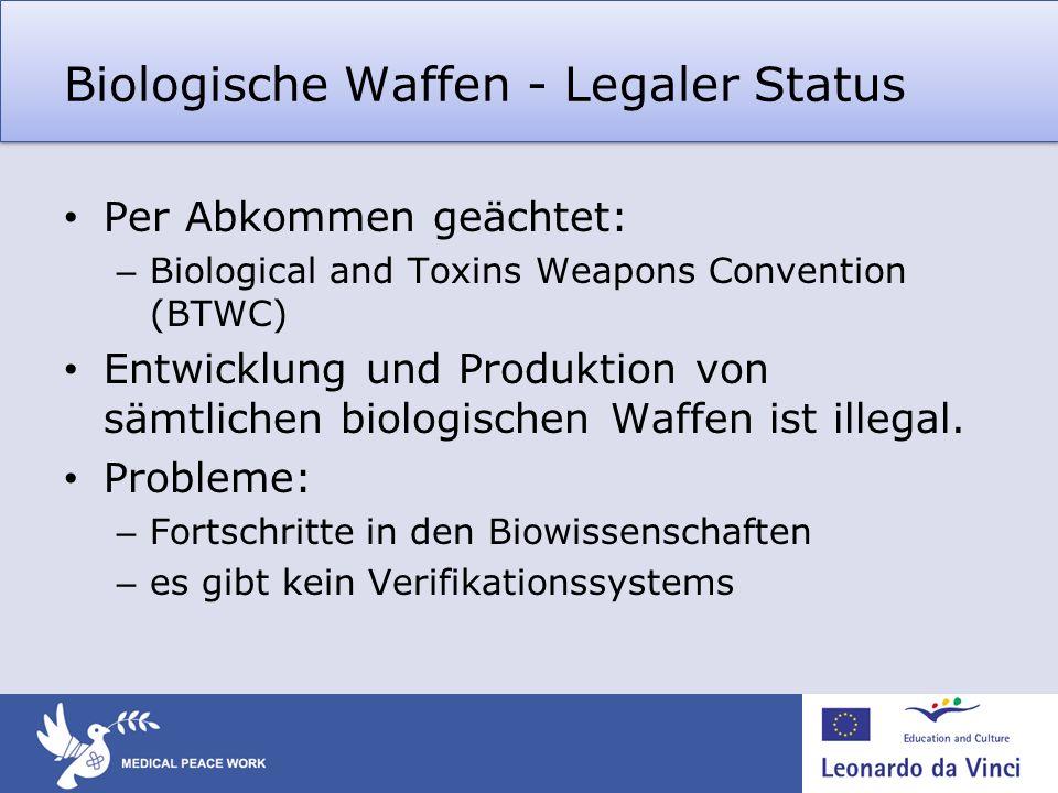 Biologische Waffen - Legaler Status Per Abkommen geächtet: – Biological and Toxins Weapons Convention (BTWC) Entwicklung und Produktion von sämtlichen