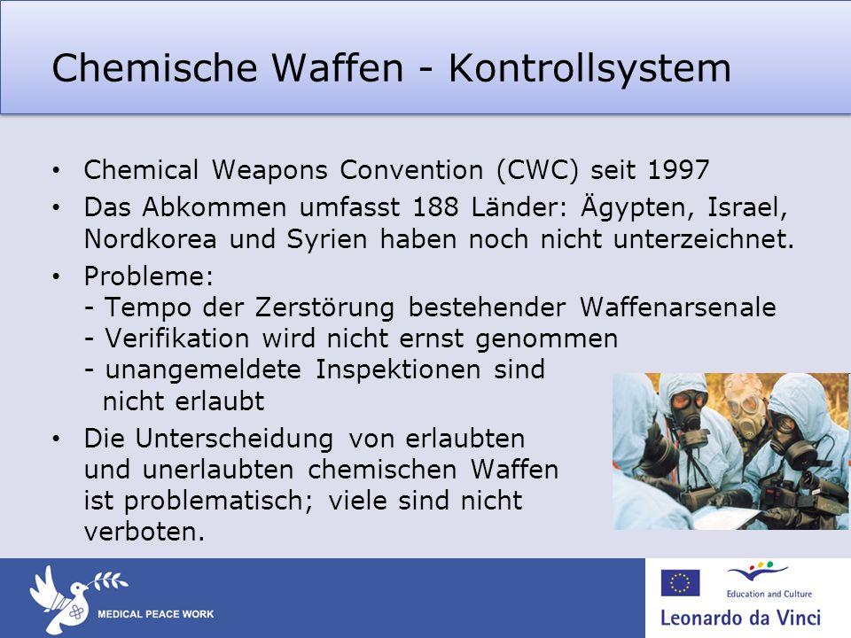 Chemische Waffen - Kontrollsystem Chemical Weapons Convention (CWC) seit 1997 Das Abkommen umfasst 188 Länder: Ägypten, Israel, Nordkorea und Syrien h