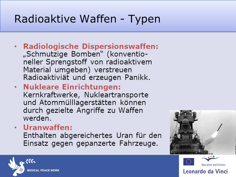 Radioaktive Waffen - Typen Radiologische Dispersionswaffen: Schmutzige Bomben (konventio- neller Sprengstoff von radioaktivem Material umgeben) verstr