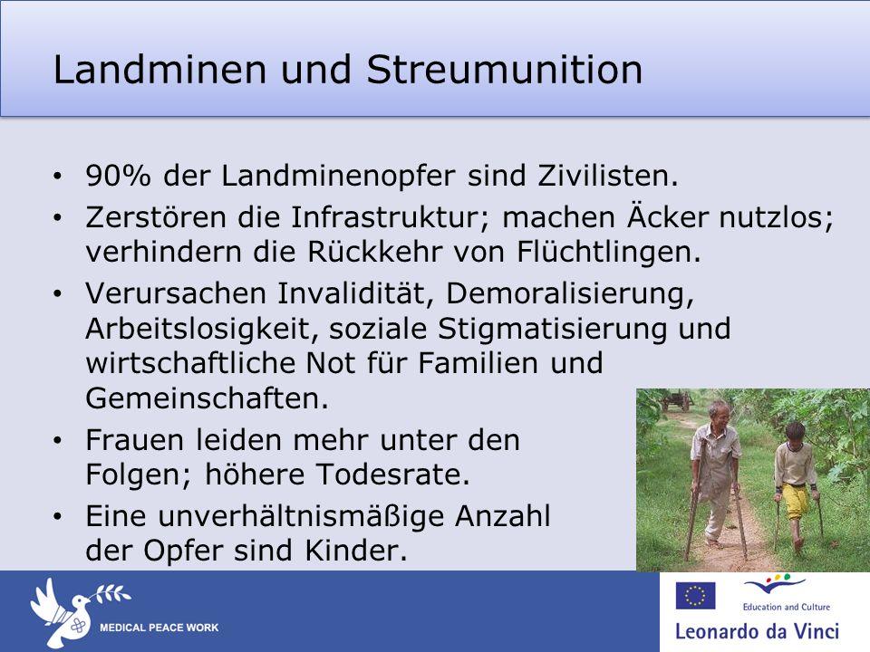 Landminen und Streumunition 90% der Landminenopfer sind Zivilisten. Zerstören die Infrastruktur; machen Äcker nutzlos; verhindern die Rückkehr von Flü
