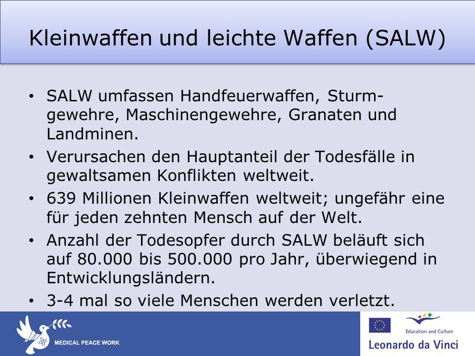 Kleinwaffen und leichte Waffen (SALW) SALW umfassen Handfeuerwaffen, Sturm- gewehre, Maschinengewehre, Granaten und Landminen. Verursachen den Hauptan