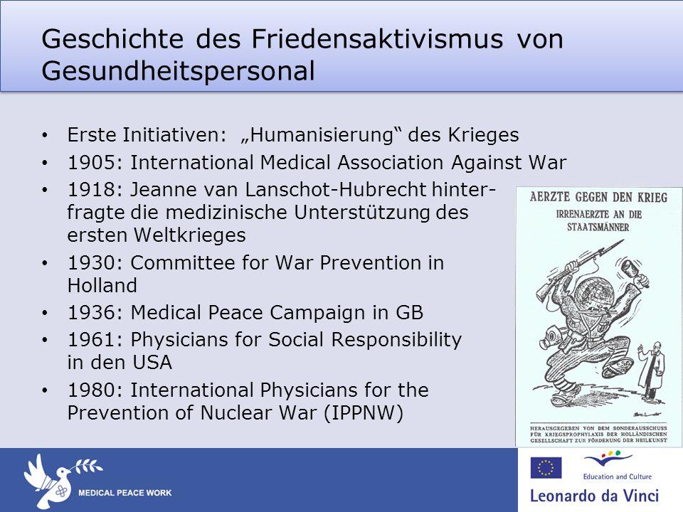 Geschichte des Friedensaktivismus von Gesundheitspersonal Erste Initiativen: Humanisierung des Krieges 1905: International Medical Association Against