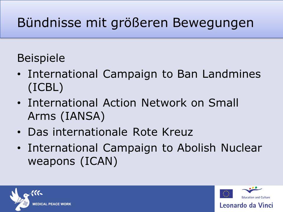 Bündnisse mit größeren Bewegungen Beispiele International Campaign to Ban Landmines (ICBL) International Action Network on Small Arms (IANSA) Das inte
