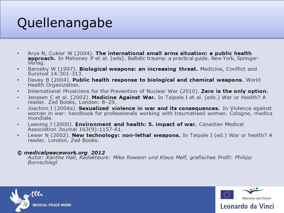 Quellenangabe Arya N, Cukier W (2004). The international small arms situation: a public health approach. In Mahoney P et al. (eds). Ballistic trauma:
