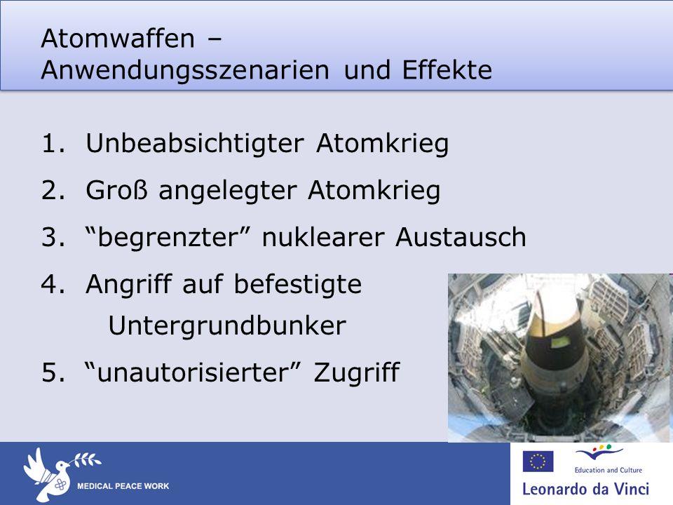 Atomwaffen – Anwendungsszenarien und Effekte 1.Unbeabsichtigter Atomkrieg 2.Groß angelegter Atomkrieg 3.begrenzter nuklearer Austausch 4.Angriff auf b