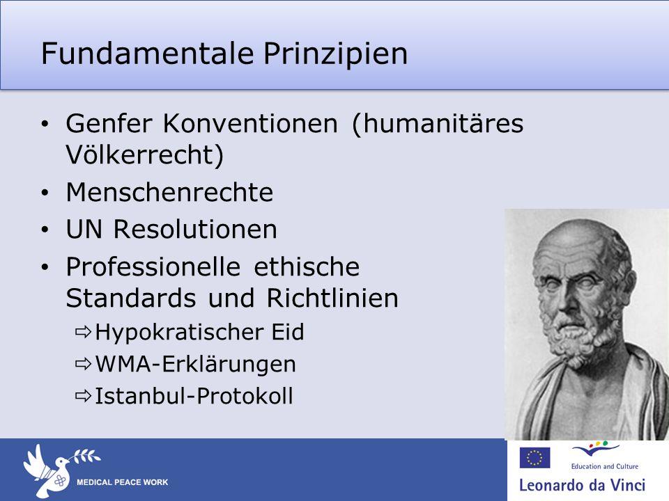 Fundamentale Prinzipien Genfer Konventionen (humanitäres Völkerrecht) Menschenrechte UN Resolutionen Professionelle ethische Standards und Richtlinien