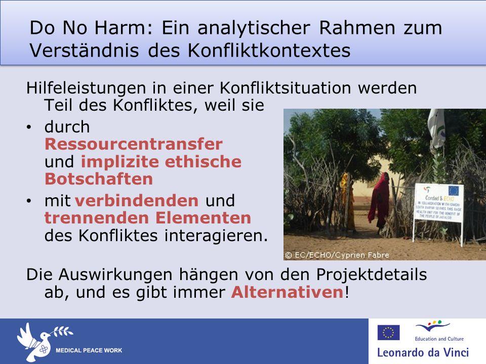 Do No Harm: Ein analytischer Rahmen zum Verständnis des Konfliktkontextes Hilfeleistungen in einer Konfliktsituation werden Teil des Konfliktes, weil