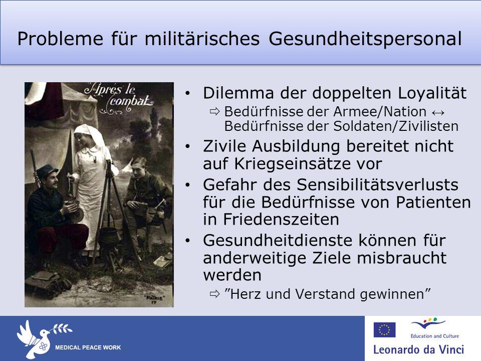 Probleme für militärisches Gesundheitspersonal Dilemma der doppelten Loyalität Bedürfnisse der Armee/Nation Bedürfnisse der Soldaten/Zivilisten Zivile