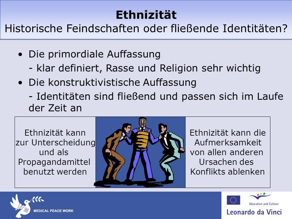 Ethnizität Historische Feindschaften oder fließende Identitäten? Die primordiale Auffassung - klar definiert, Rasse und Religion sehr wichtig Die kons