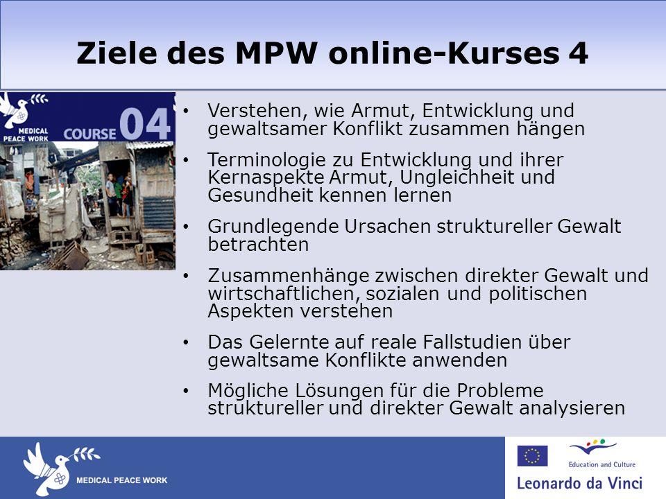 Ziele des MPW online-Kurses 4 Verstehen, wie Armut, Entwicklung und gewaltsamer Konflikt zusammen hängen Terminologie zu Entwicklung und ihrer Kernasp